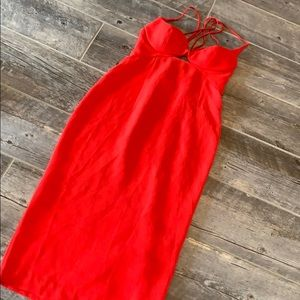 ASOS Red Hot Midi Dress with Strappy Back